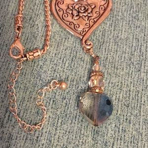 Brighton Style Floral Heart Pendant Necklace